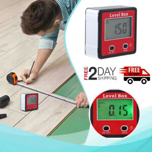Protractor Angle Meter Finder Gauge Level Box Magnetic Inclinometer Lcd Digital