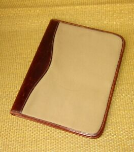 Green Fields Folio Genuine Leather Canvas Notepad planner Cover Monarch