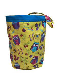 Handmade Litter Trash Bag For Car Or Home Owls Yellow Pink Blue Purple