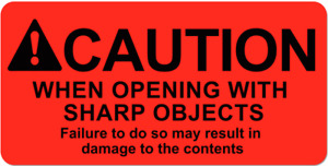 Caution When Opening With Sharp Objects Stickers 2x4 Packaging Mailing Labels