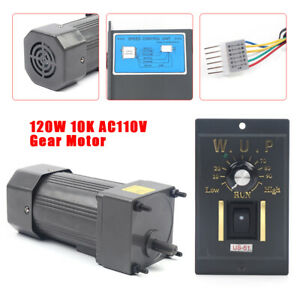 Ac 110v 120w Gear Electric Motor variable Speed Reduction Controller 135rpm 10k