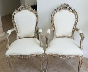 Refinished French Style Accent Chairs Set
