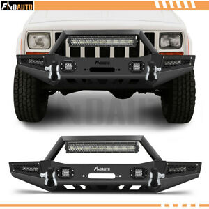 For 1983 2001 Jeep Cherokee Front Bumper W Winch Plate Led Lights D Rings
