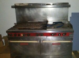 Vulcan hart Vg36 6 Burner Gas Commercial Range With Hood And 2 Ovens