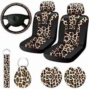 New Listing7 Pieces Leopard Print Car Decorations Includes Leopard Front Seat Covers Ste