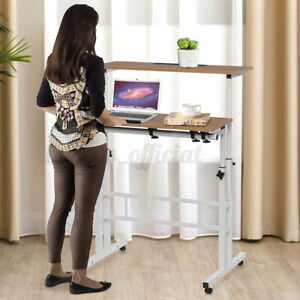 Rolling Adjustable Height Stand Up Double Home Office Laptop Desk Computer Table