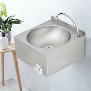 Stainless Steel Sink Commercial Hand Washing Basin With Hot cold Mixer Faucet Us