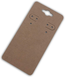 500pack 2x4 Pre Punched Hanging Jewelry Earrings Display Cards Brown Kraft Paper