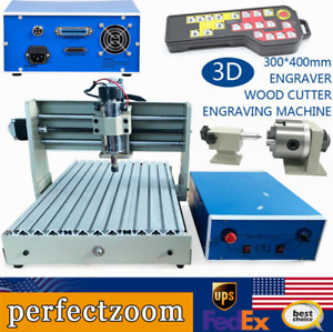 4 Axis Cnc 3040t Router Engraver Milling Drilling Machine 400w remote Handwheel
