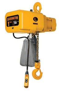 Harrington 1 Ton Electric Chain Hoist New 10 Lift Ner Ner010l W Chain Cont