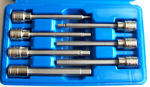 7pc 3 8 Drive Extra Long Hex Allen Socket Set Sae