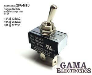 30 Amp Spst Single Pole Single Throw 2 Position Off on Toggle Switch 28a mtd