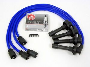 Vms 95 99 Eclipse Turbo 4g63 10 2mm Spark Plug Wires Set Ngk V power Plugs Blue