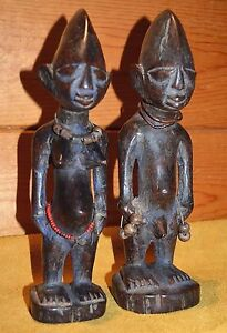 Antique Yoruba Tribe Ibeji Twin Figures Hand Carved Wood Statues Nigeria Africa