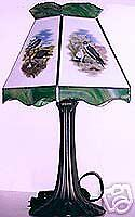 4 Birds Of Prey Stained Glass Lamp Shade W Base