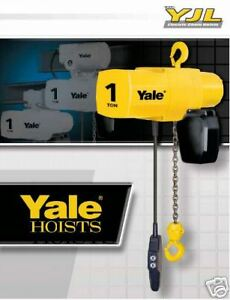 Yale Yjl 1 Ton Electric Chain Hoist 20 Ft Lift Single Or Three Phase New