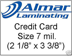 100 Credit Card Size Laminating Pouches 7 Mil