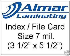 100 Index File Card Size Laminating Pouches 7 Mil
