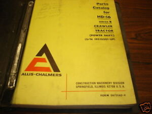 Allis Chalmers Hd 16 Series B Crawler Parts Manual