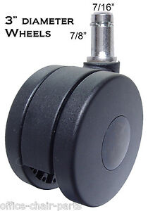 3 Office Chair Twin Wheel Casters Thick Carpets 5 Pc ch 75