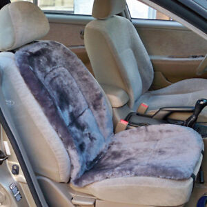 Premium Sheepskin Seat Cushion Covers Grey Universal Fit Pair