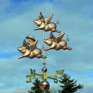 Copper Flying Pigs W Cowboy Weathervane Made In Usa 402