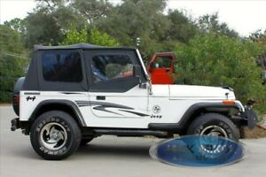 Black Replacement Soft Top Upper Doors For Jeep Wrangler Yj 88 95