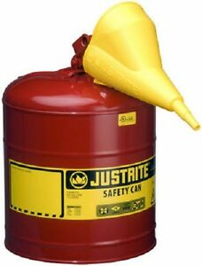 Justrite 7150110 5 Gal Type 1 Red Steel Gas Can W Funnel