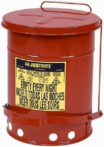 Justrite 09100 6 Gal Red Steel Oily Waste Can With Lever