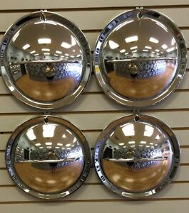 14 Hollywood Flipper Moon Custom Hot Rod Chrome Hubcaps Wheelcover Set
