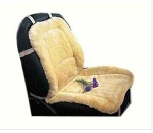 Premium Sheepskin Car Seat Cushion Cover Beige Universal Fit