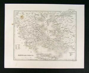 1847 Map Greece Ionia Athens Turkey Crete Sparta Europe
