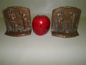Antique Bronze Figural Couple Country Harvest Bookends