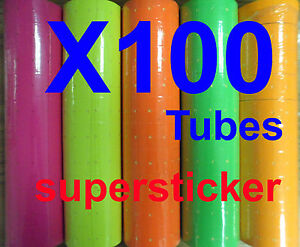100 Tubes Colors X 500 Tags Labels Refill For Mx M L 5500 Mx 989 Motex Price Gun