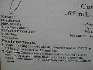 Costar Microcentrifuge Tube 65ml Cat 3206 See Pics For Specs