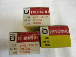 3 Ohmite Potentiometers Type U linear Cu 5041 5000 000ohms