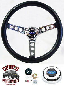 1963 1964 Galaxie Fairlane Steering Wheel Blue Oval 13 1 2 Classic Chrome