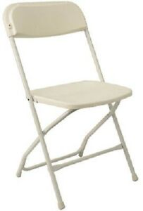 Lot Sale Of 10 White Plastic Party Folding Chairs W Metal Frames 2180