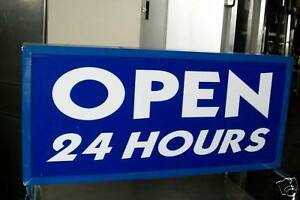 Open 24 Hours Sign One Side Only Lighted 115 Volts