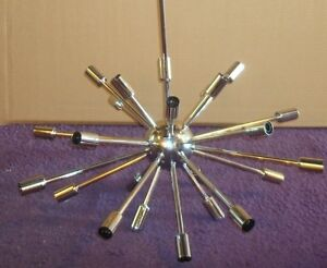 Sputnik Ceiling Fixture Mid Round Chrome Finished With Star Bulbs