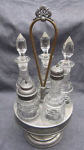 Victorian Silverplate 5 Bottle Honeycomb Band Castor Set Condiment Set