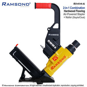 Ramsond Rmm4 2 in 1 Pneumatic Hardwood Wood Floor Flooring Cleat Nailer Stapler