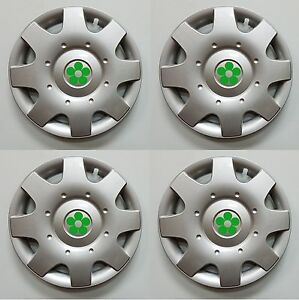 1998 2009 Vw Beetle 16 Green Daisy Flower Wheelcovers Hubcaps Set