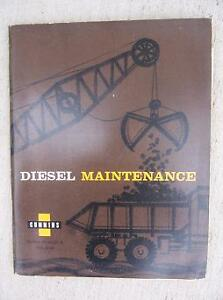 1960 Cummins Diesel Engine Maintenance Manual Construction Mining Machine J