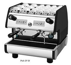 La Pavoni Commercial Espresso Machine Maker Pub 2v b Black 2 Group Volumetric