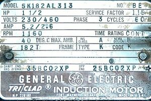 1 1 2 Hp General Electric Induction Motor 230 460 3 Phase