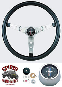 1965 1969 Mustang Steering Wheel Cast Pony 13 1 2 Classic Chrome