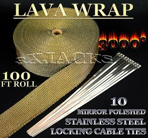 Lava Fiberglass Exhaust Pipe Header Thermo Wrap Turbo Tape Titanium Kit Volcanic
