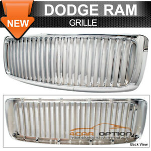 Fits 02 05 Dodge Ram 1500 Chrome Vertical Front Bumper Grill Grille 03 04