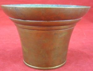 Vintage Small Korean Brass Pot Republic Of Korea Stamped Round South Patina